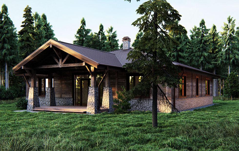 Проект и цена на одноэтажный дом в стиле шале Chalet Meribel